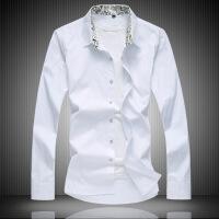 春季纯色长袖衬衫男士加肥加大码青年商务休闲特大号衬衣薄宽松胖