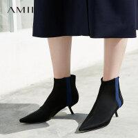 【1件5折】Amii极简时尚chic港味ulzzang靴子女2018撞色尖头细高跟短靴