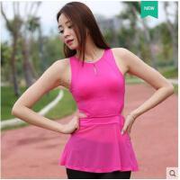 轻薄透气纯色瑜伽服单件上衣健身房女运动背心显瘦修身含胸垫
