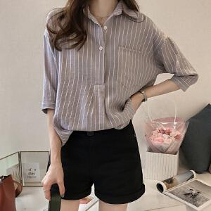 条纹衬衫女2018夏装新款韩版宽松显瘦条纹衬衫女七分袖上衣休闲衬衣打底衫潮
