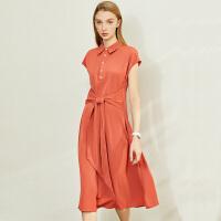 【券后预估价:130元】Amii极简气质雪纺连衣裙2020夏季新款POLO领收腰中长款修身A字裙
