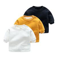 女婴儿童卫衣6个月1男宝宝加绒加厚保暖上衣秋冬装