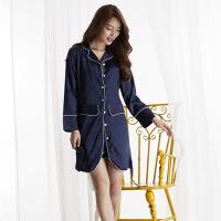 睡裙女夏韩版长袖裙子短裤两件套装仿真丝宽松休闲家居服XC