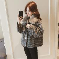 小香风格子羊羔毛呢外套女短款2018冬装新款韩版毛领加绒加厚夹克 格子色