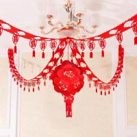 婚房布置结婚庆用品装饰套餐装饰创意客厅卧室房间布置无纺布喜字拉花绣球 绣球+喜款拉花