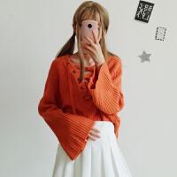 秋冬女装韩版领口系带V领宽松长袖学生套头毛衣显瘦百搭针织衫潮