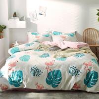 四件套全棉纯棉简约田园床单被套1.8m双人床笠卡通三件套床上用品 1.5m(5英尺)床 床笠款套件
