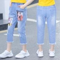 女童牛仔裤夏季2019新款韩版儿童七分裤宽松休闲中大童外穿裤