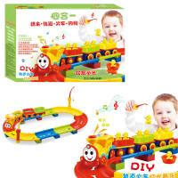 儿童玩具 轨道车火车拼装积木玩具声光音乐小火车亲子游戏男孩儿童礼盒装生日礼物