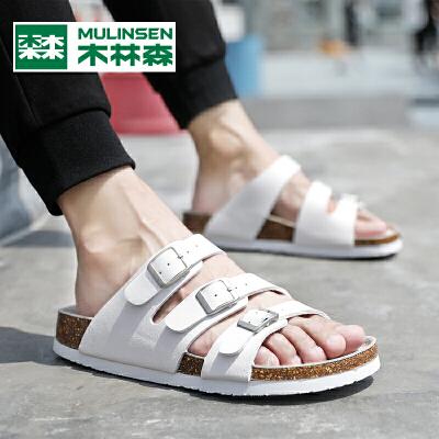 木林森夏季凉鞋男潮流男士拖鞋夏款时尚外穿韩版百搭休闲沙滩一字潮拖鞋
