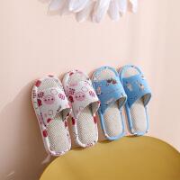 �和�拖鞋棉麻布�室�饶型�女童小孩家用��麻家居家春秋冬����防滑