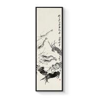 新中式装饰画中国画齐白石办公室客厅沙发背景墙卧室挂画虾蟹图 40x140cm嵌框 单幅价格 黑色