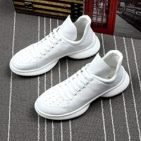 夏季男式白色运动休闲鞋厚底增高韩版青年百搭潮流男鞋透气小白鞋
