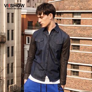 viishow春装新款长袖衬衫 欧美时尚拼接牛仔衬衫男 修身衬衣
