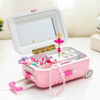 韩版拉杆行李旅行箱音乐盒时尚旋转芭蕾小女孩化妆镜首饰盒八音盒 粉色