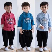 儿童汉服男秋国学服装改良古装男童宝宝中国风唐装两件套男孩童装