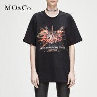 MOCO冬季新品圆领图案印花纯色T恤MA184TEE205 摩安珂