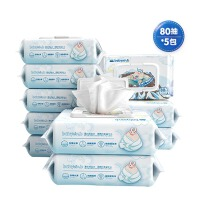怡恩贝深岩水婴儿手口湿巾80抽5包 新生宝宝专用湿纸巾