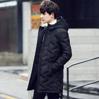 新款长款羽绒服男长过膝加厚修身款休闲90%白鸭绒加长冬装防寒服 黑色 M