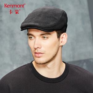 卡蒙男士帽子冬季户外休闲保暖加厚毛呢帽黑色鸭舌帽中老年前进帽2677