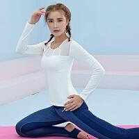 长袖带胸垫瑜伽服T恤 秋冬季女士网纱速干运动上衣性感弹力紧身衣