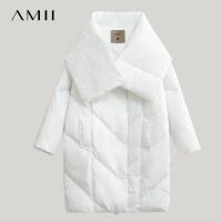 Amii极简轻暖90白鸭绒配围脖羽绒服女冬季新款多穿外套上衣
