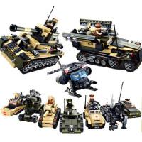 拼装积木玩具益智拼插八合一军事海陆空坦克战车男孩子