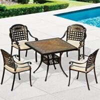 户外花园阳台咖啡茶几铸铝桌椅组合室外酒吧欧式家具五件套 【6 1】7件套