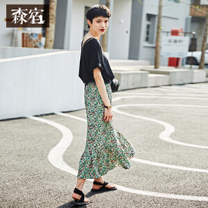 【低至1折起】森宿碎花仙女长裙ins夏装2018新款不对称荷叶边拼接半身裙女