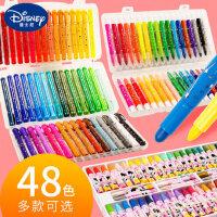 迪士尼旋转蜡笔套装油画棒水溶性炫彩棒丝滑24色涂色笔儿童可水洗人体彩绘幼儿园宝宝安全无毒重彩色画笔36色