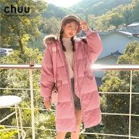 chuu羽�q服女中�L款2019冬�b款�n版��松粉色�|大�T白���q加厚外套