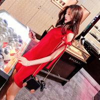 红色连衣裙春夏季2018新款女装潮性感露肩无袖短款裙子