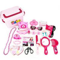 仿真儿童化妆品口红美发盒玩具套装女孩女童公主过家家梳妆台玩具 +相机+花结夹