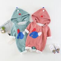淘气麦兜 新生儿连体衣春长袖3-6个月婴幼儿连身衣小狗印花连帽宝宝爬爬服