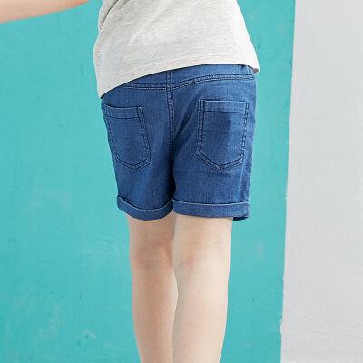 【尾品汇 5折直降】amii童装2017夏季男童休闲短裤儿童翻折裤脚萌趣印花牛仔短裤