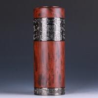 【品牌热卖】紫砂保温杯男女士茶杯水杯子办公商务礼品杯 红木纹直身杯