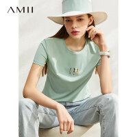 【券后预估价:65元】Amii极简时尚小众莫代尔T恤女2020夏季新款修身绣花休闲短袖上衣