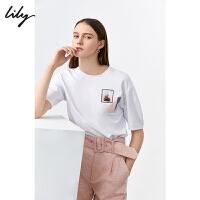 【LILY超品/限时一口价:135】Lily2020夏新款女装简约ins潮宽松白色圆领短袖休闲短款小上衣T恤