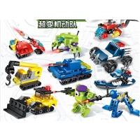 积木益智拼装军事警察工程消防机器人玩具男孩子礼物