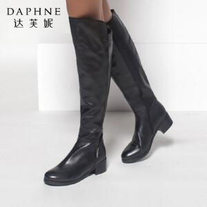 达芙妮正品女鞋冬季保暖粗中跟长靴侧拉链女靴头层牛皮长筒靴