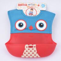 口水巾 硅胶动物卡通图案饭兜 便携环保材质双层防水立体围嘴