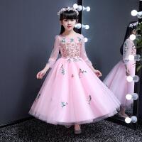 女童长袖蓬蓬婚纱公主裙主持人钢琴演出服春儿童晚礼服小花童礼服