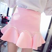 春夏甜美粉色公主风太空棉高腰钉珠短裙半身蓬蓬裙鱼尾裙女