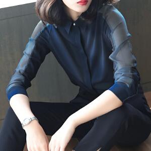 雪纺衬衫女长袖2018新款中长款韩版宽松职业打底衬衣休闲春装上衣