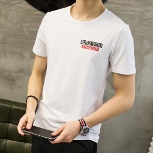夏季男士短袖t恤 韩版圆领修身学生大码体恤潮男装衣服