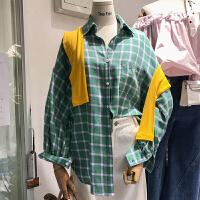 韩国ulzzang2018春装新款宽松休闲格子绿色衬衫女长袖POLO领上衣