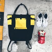 原宿日韩版双肩包男女休闲帆布大容量学生书包个性背包旅行包