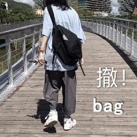 韩国原宿单肩斜挎包女男学生包休闲帆布包机能包大容量大包包 黑色