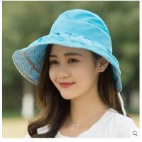 新款可折叠凉帽女士潮防紫外线大沿沙滩太阳帽防晒女遮阳帽帽子 可礼品卡支付