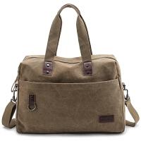 新款手提旅行包大容量短途出差行李包复古帆布包男电脑包商务包 中